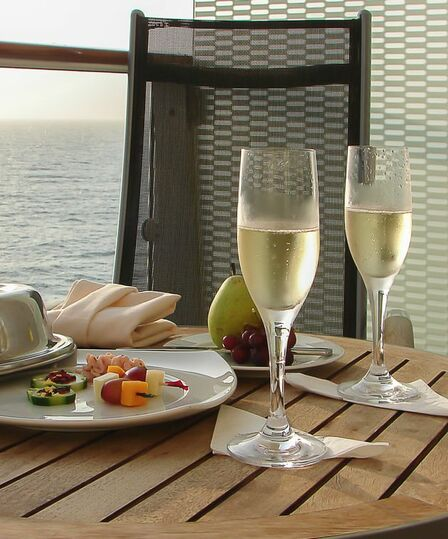 Luxury cruise with champagne
